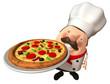 Pizzaiolo avec une pizza