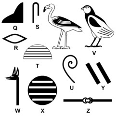 Egyptian Hieroglyph Alphabet Q to Z poster 003
