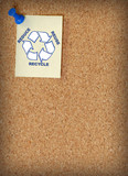 reduce reuse recycle on note tacked to corkboard poster