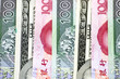 Different banknotes - closeup photo, USD, PLN and RMB