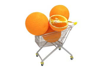 Huge oranges on the shopping cart isolated on white