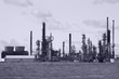 Oil refinery in sepia in Cheyenne, Wyoming, USA