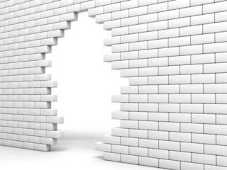 broken brick wall of white color