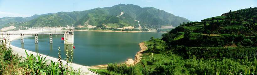 The panoramic view of reservoir in mountain