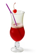 Cherry cocktail decorated with cherry and tubule