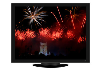 plasma tv with colored fireworks in the night