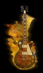Burning electric guitar