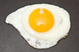 Fried egg in a non stick frying pan poster