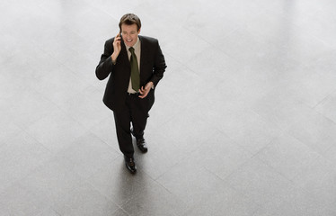 A businessman talking on mobile phone, smiling