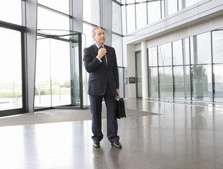A mature businessman standing in the lobby adjusting his tie