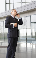 A mature businessman talking on a mobile phone