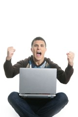 student happy laptop, success gesture expression