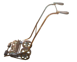 Rusty Antique Mower isolated with clipping path