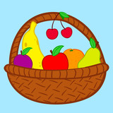 Fruits in basket doodle poster