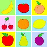 Fruits doodle poster