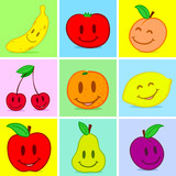 Fruits doodle face smile poster
