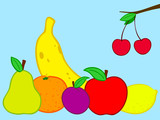 Fruits still life doodle poster