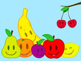 Fruits still life doodle face poster