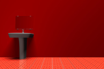Sink in red