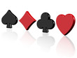 the four signs of poker on a white background and reflection