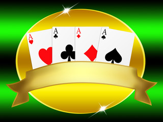 banner with gold frame and the four aces poker