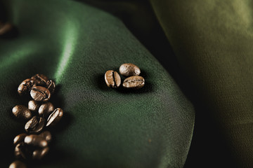 Coffee Bean on green cloth