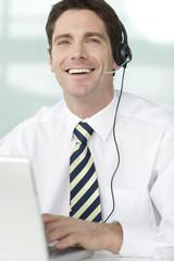 A man wearing a headset