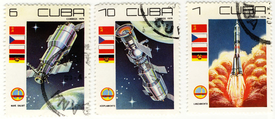 vintage stamps of Cuba with the space theme