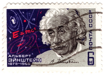 old USSR stamp with famous physicist of Albert Einstein