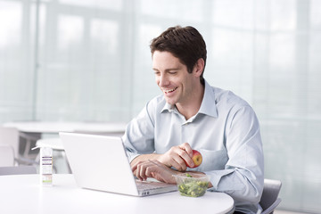 A man on his lunch break using a laptop computer