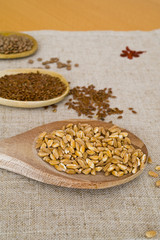 spoons, grain and legumes