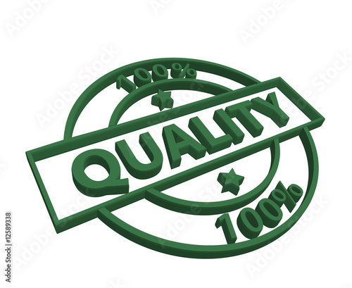 """100% Quality"" stamp (3D) (green)"