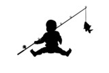 silhouette of baby fisher with a fish isolate