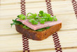 Ham sandwich with parsley and spring onion