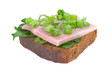 Ham sandwich with rye bread, parsley and spring onion