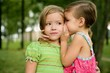 Two twin little sister girls whisper in ear - 12596167