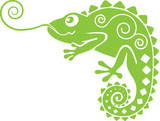 Green lucky chameleon with decor