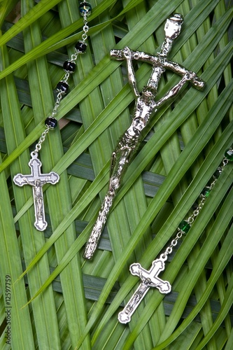 Crucifix On Palm Leaves
