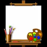 Fototapety Tela su cavalletto-Easel Painter-Toile sur Chevalet