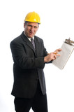 excited contractor builder architect with clipboard poster