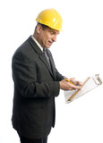excited builder architect lawyer contractor with clipboard poster