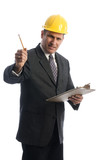 excited contractor architect builder with clipboard poster