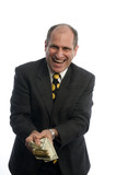 happy excited man with money banker lawyer lottery winner poster