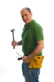 contractor repairman carpenter tool belt and hammer poster