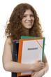 Studentin mit Mappe Diplomarbeit