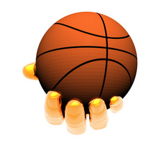 hand with basket ball isolated on a white