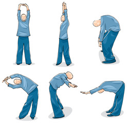 Illustration of Man Practise Tai Chi Warm-up