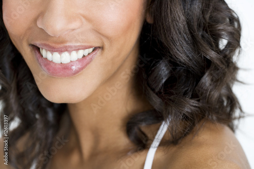 Close up of a woman's smiling mouth
