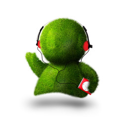 Cute green person listening to music with player