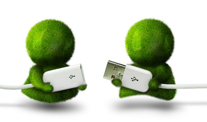 Pair of cute green persons holding usb connectors